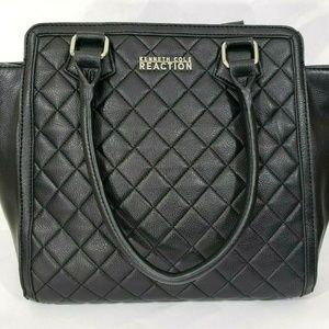 Black Quilted Faux Leather Large Handbag Purse